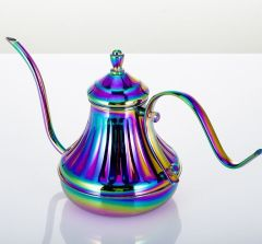 Stainless steel multicolour hand flush coffee pot