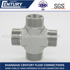 Carbon Steel 24 Degree Cone Metric Male Cross Fittings 4 Way Pipe Fitting( XC /XD)