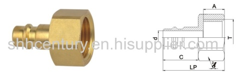 Copper Material Recuts 26KA Type Air Quick Coupling For Vacuum Pump