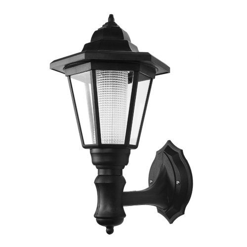 Outdoor Solar Wall Lamp LED Garden Wall Lantern Black [Energy Efficiency Class A +