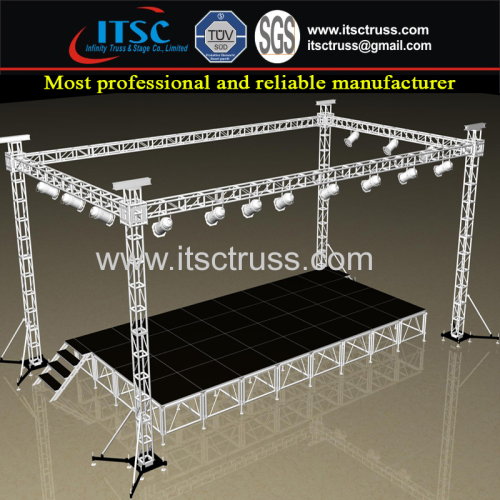 4 Pillars Flat Roof Trussing System 9x9x9m Aluminum Lighting Truss Stage System