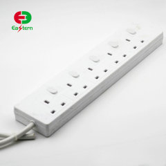 13A 250V UK 5 Outlet Power Strip Individual Switch