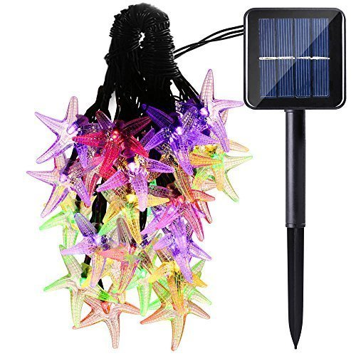 0 LED Sea Star Solar String Lights Outdoor Waterproof Fairy Light String for Christmas Party Birthday Decoration