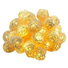 Solar String Warm White 20 LED Rattan Ball Fairy Lights with Waterproof Solar Panel&2 Lighting Modes for Outdoor
