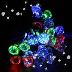 Solar Powered 20 LED Outdoor Garden Yard Party Fairy Diamond String Lamp Lights For Christmas Wedding Bedroom Decoration