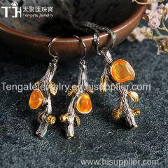 Fashion opal gemstone jewelry set TG-OPA-PE-1706/TG-OPA-ER-1712