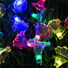 Solar Powered Morning Glory String Lights 4.8M 20LED Waterproof Fairy Decorative Lighting for Indoor/Outdoor