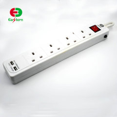 USB power strip 4 outlet switch on off with 2 USB power outlet