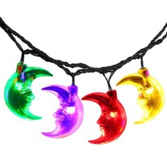 20 LED Moon Shaped String Lights Two Lighting Mode and Solar Energy for House Party Festival Decor(Multicolor)