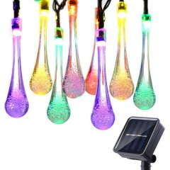 20 LED Water Aque Drop Solar Fairy Lights Waterproof String Lights for Garden Patio Yard Home Parties Multi Color