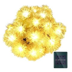 Warm White/Yellow WaterProof 20LED 4.8M/16ft Chuzzle Ball Solar Chestnut String Lgihts Wedding/Gardens/Party Decoration