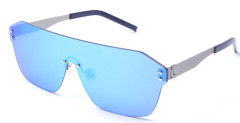 Shield one lens metal sunglasses with Nylon mirror lens