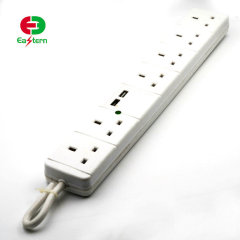 smart extension socket 2 USB port 6 outlet power strip with overload protection