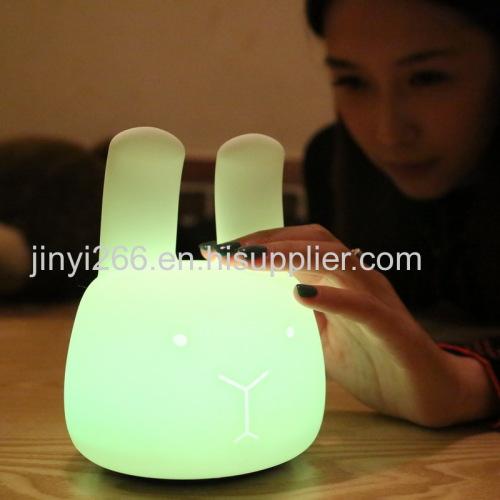 New Portable Co-Sleeping Bunny Night Light Soft Silicone Angora Rabbit Nightlight Energy Efficient LED Light