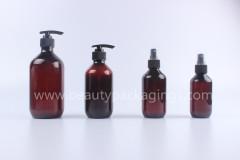 200ml 300ml Amber Round Plastic Lotion Pump Bottles