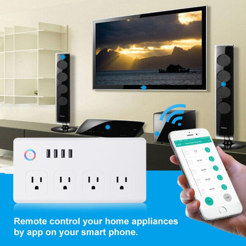 4 AC Outlets 4 USB Ports Remote Control WiFi Smart Plug