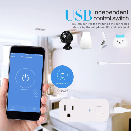 Wireless WiFi Smart Plug Outlet With Built In USB Port