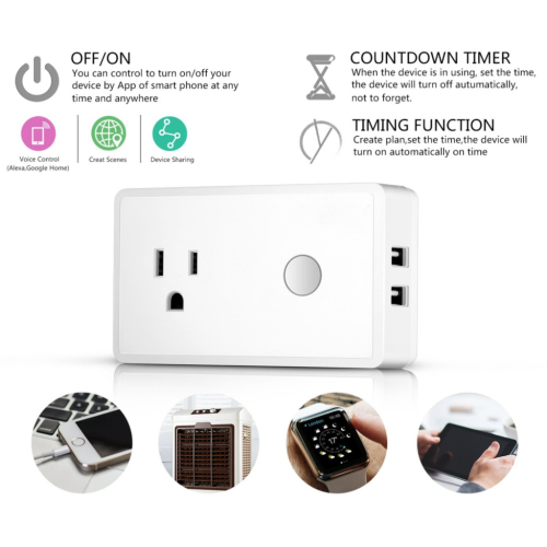 Mini Wireless Outlet Built in 2 USB Ports with Timing Function