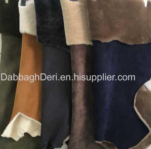 Genuine sheepskin shearling suede fur