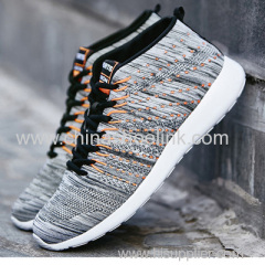 Zebra Shoes Popular Charcoal Mid-Cut Men's Running Sports Casual Shoes Sneaker Knitting Shoes