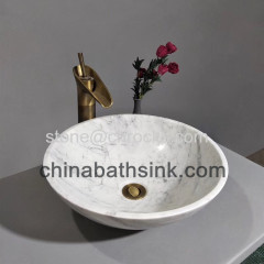 Guangxi White Bathroom Basin Carrara White Marble Sinks