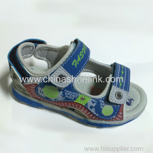 Grey leather sport sandal manufactor