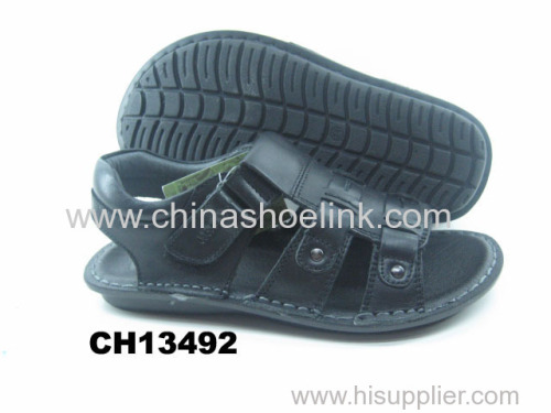 Best black boy summer leather sandals manufactor
