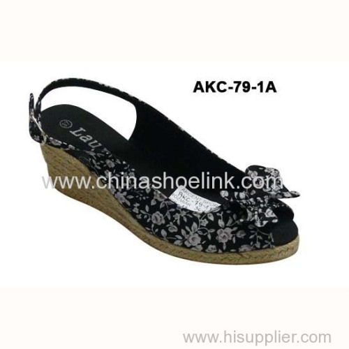 Best espadryle style sandals lady jute shoe canvas shoes wedges supplier