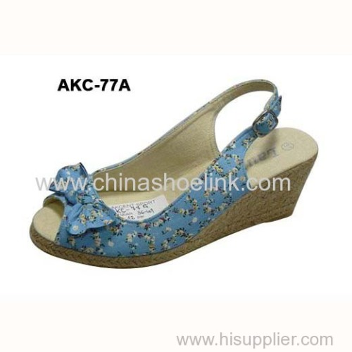 Lady Jute shoe espadryle style wedges casual shoes exporter