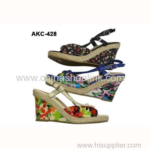 Espadryle style lady jute shoe summer sandals casual shoes wedges wholesaler