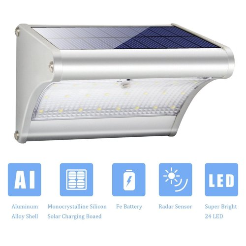 Solar Lights Outdoor Motion Sensor 24LED Solar Powered Security Lights Aluminum Alloy for Yard Patio Garage