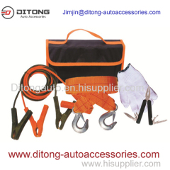 5pcs emergency kit with jumper cables in carpet bag