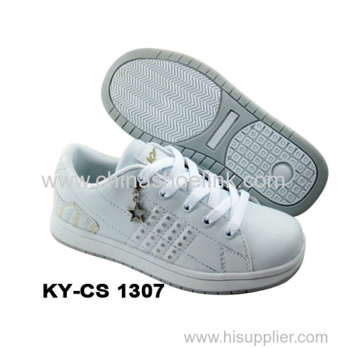 China skateboard shoe full white school shoes
