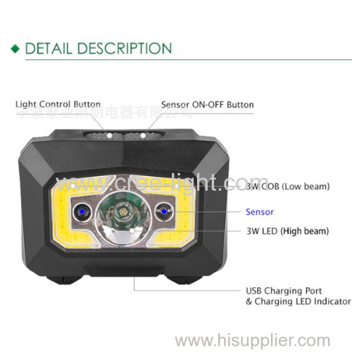 2018 mini ultra super bright 3W COB + 3W LED rechargeable led headlamp with sensor function