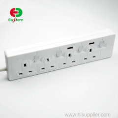 UK GCC SASO 5 way power outlet power strip