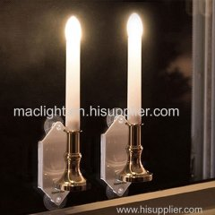 Realistic Flameless LED Solar Flickering Candle Light Rechargeable Window Wall Lamp