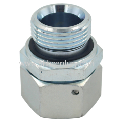 Metric hydraulic fitting with swivel nut and captive seal