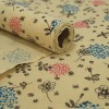 flowers printed ramie cotton roll with sewn edge