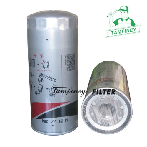 Heavy duty oil filters for Renault oil filter 7421561284 7420541379 P550425 for spin-on bypass filter