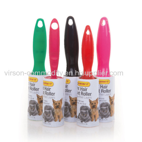 adhesive pick up lint roller with printed handle sticky lint brush