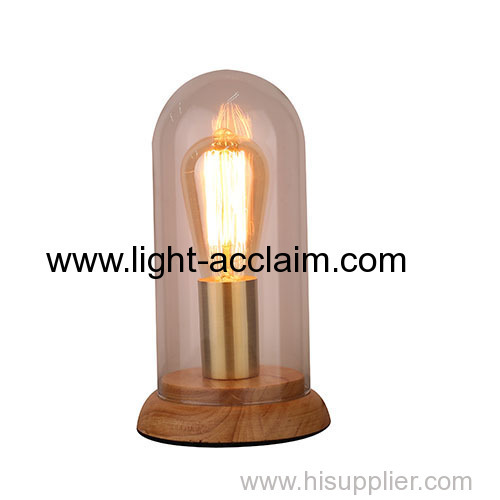 Glass+ wood table lamp