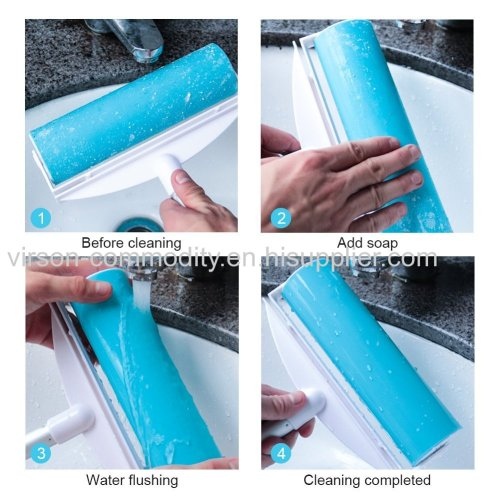 Large Size Washable Sticky Lint Roller Reusable Sticky Remover Brush for Pet Hair Clothes Carpet Curtain Dust