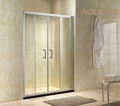 Clear Tempered Glass Aluminum Frame Shower Screen Cubicle with 2 Sliding Door