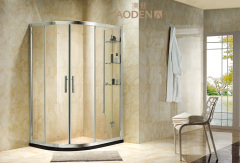 Quadrant Simple Clear Tempered Glass Sliding Bathroom Shower Enclosure