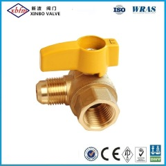 Angle Brass Gas Ball Valve-Flare X Female