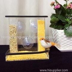 Portable Automatic Acrylic Bird Feeder Mounted Celar Bird Feeder Akryl Bird Food Carrier