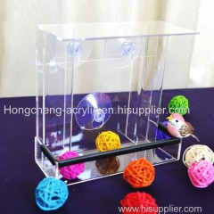 detachable acrylic bird feeder with sliding tray with 4 suction cups
