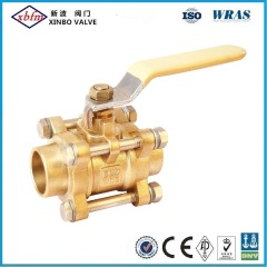 Brass 3PC Solder End Ball Valve