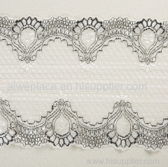 Spandex Nylon White Drawnwork Width 18cm Lace Trimming for Sexy Women Dress