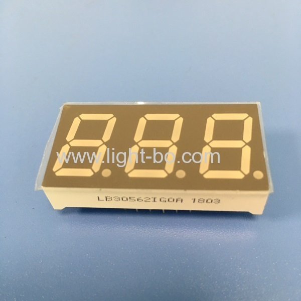"Pure Green Triple digit 0.56"" common anode 7 segment led display for instrument panel"